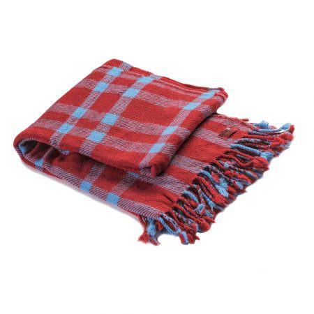 Vlněná deka Perelika merino - červená kostka