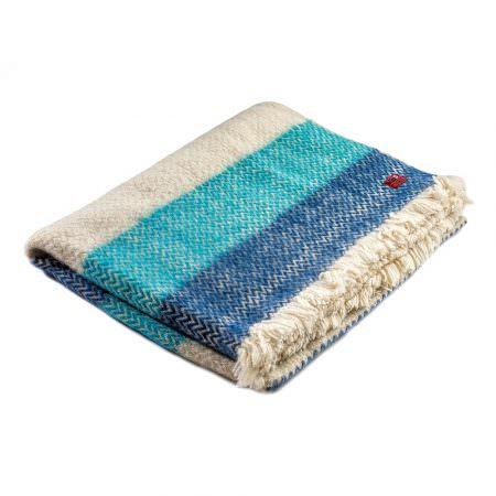 Vlněná deka Karandila I modré pruhy