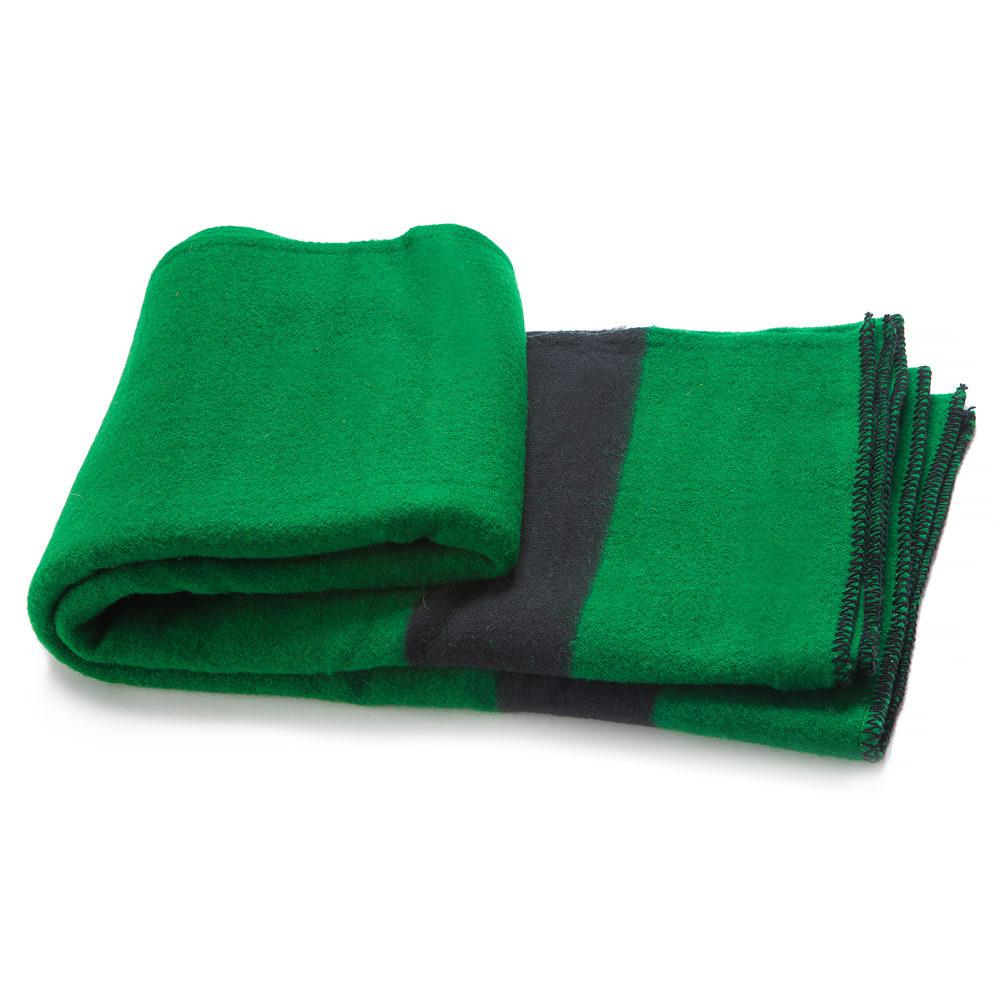 Silná vlněná deka Rainbow IV - tmavě zelená s černým pruhem na obou koncích