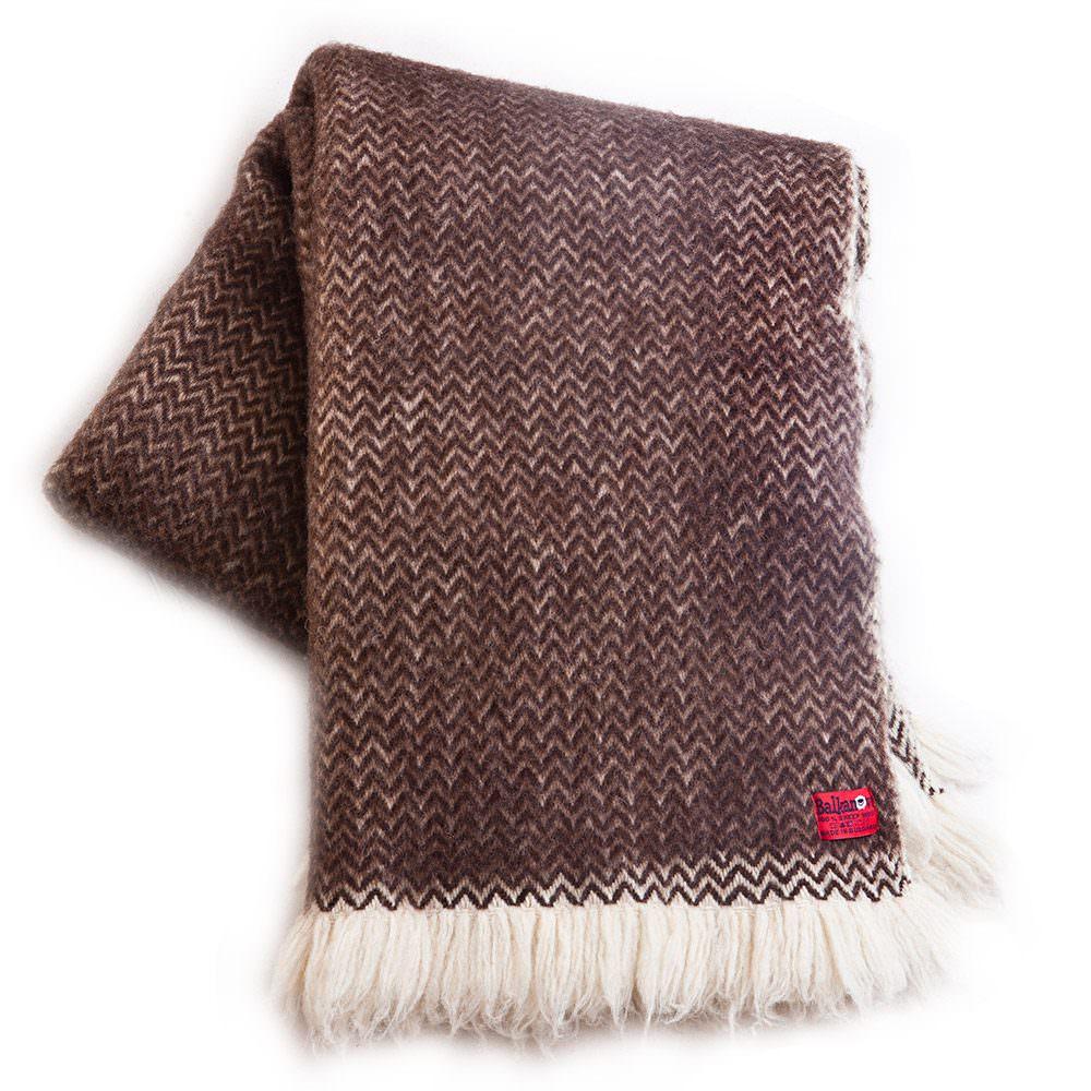 Vlněná deka Karandila IV hnědá nebarvená