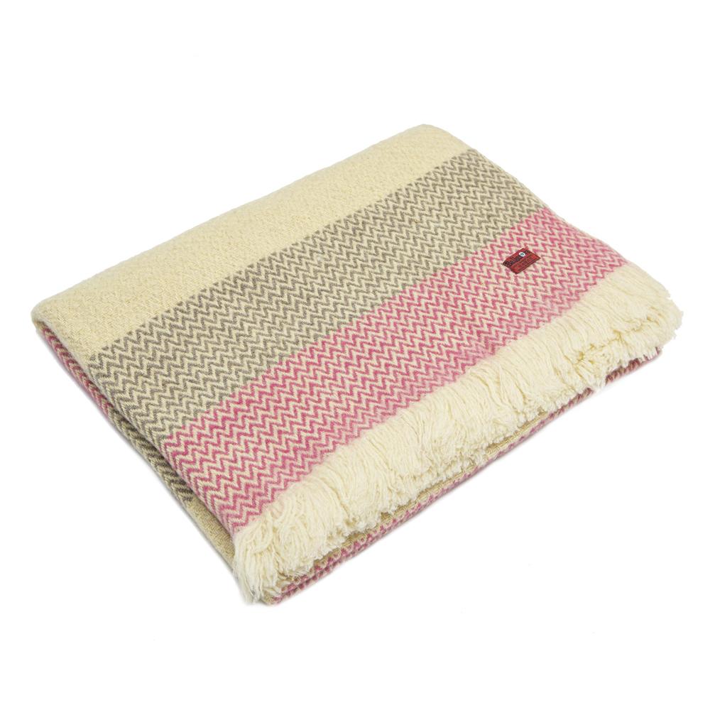 Vlněná deka Karandila IX šedé a růžové pruhy
