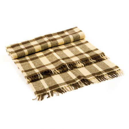 Wool Blanket Perelika VIII - natural white and brown wool