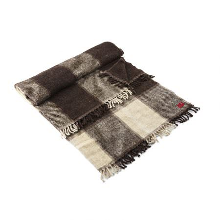 Wool Blanket Perelika XI - natural white and brown wool
