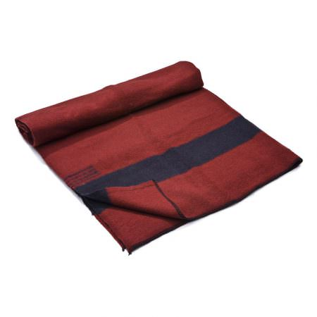 Thick Wool Blanket Rainbow III - burgundy with a one black stripe on both ends