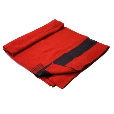 Thick Wool Blanket Rainbow VI - red with a one black stripe on both ends