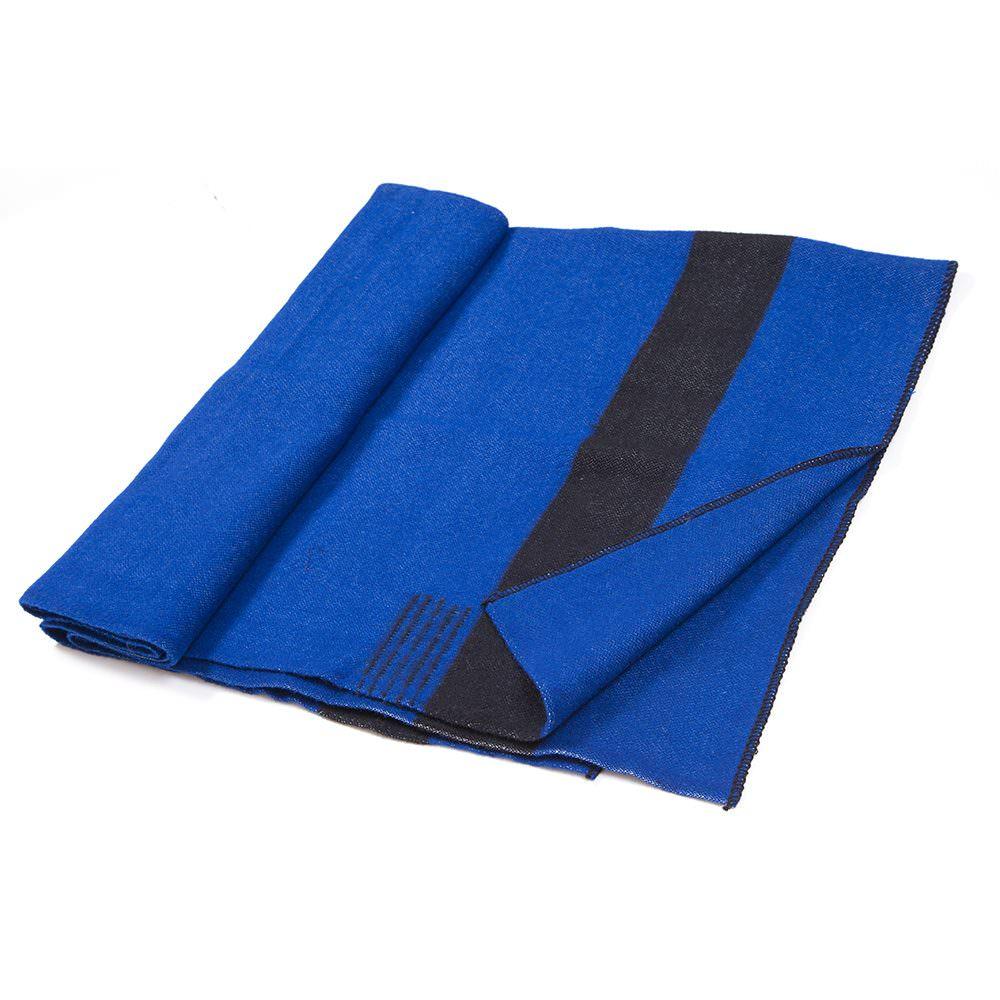 Silná vlněná deka Rainbow XII - tmavě modrá s černým pruhem na obou koncích