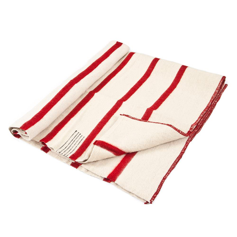 Thick Wool Blanket Rainbow XV - white with thin red stripes