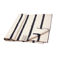 Thick Wool Blanket Rainbow VIII - white with thin black stripes