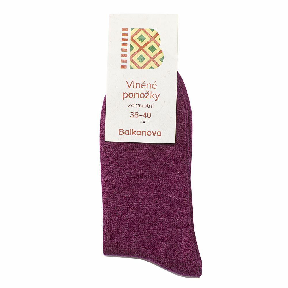 Ponožky 90% vlna, jednobarevný hladký úplet - bordó