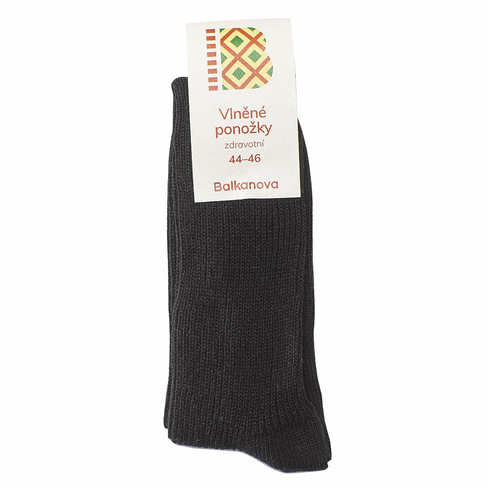 Ponožky 100% vlna, jednobarevný pružný úplet, zdravotní