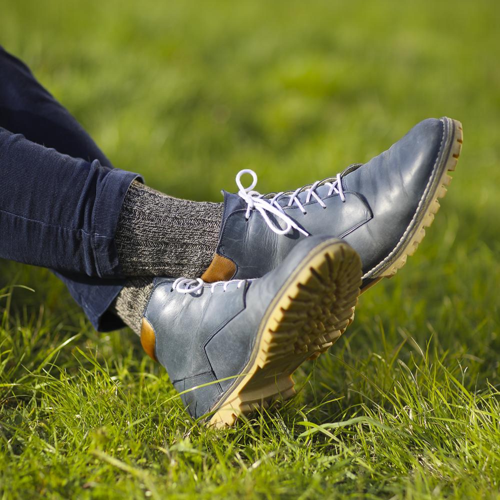 Vlněné ponožky 100% vlna, silný pružný úplet (hnědý melír)