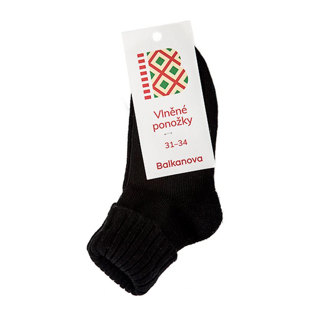 Ponožky 90% vlna, jednobarevný pružný úplet s ohrnovacím lemem, zdravotní