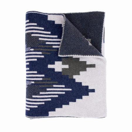 Vlnený šál a čapica – modrá II
