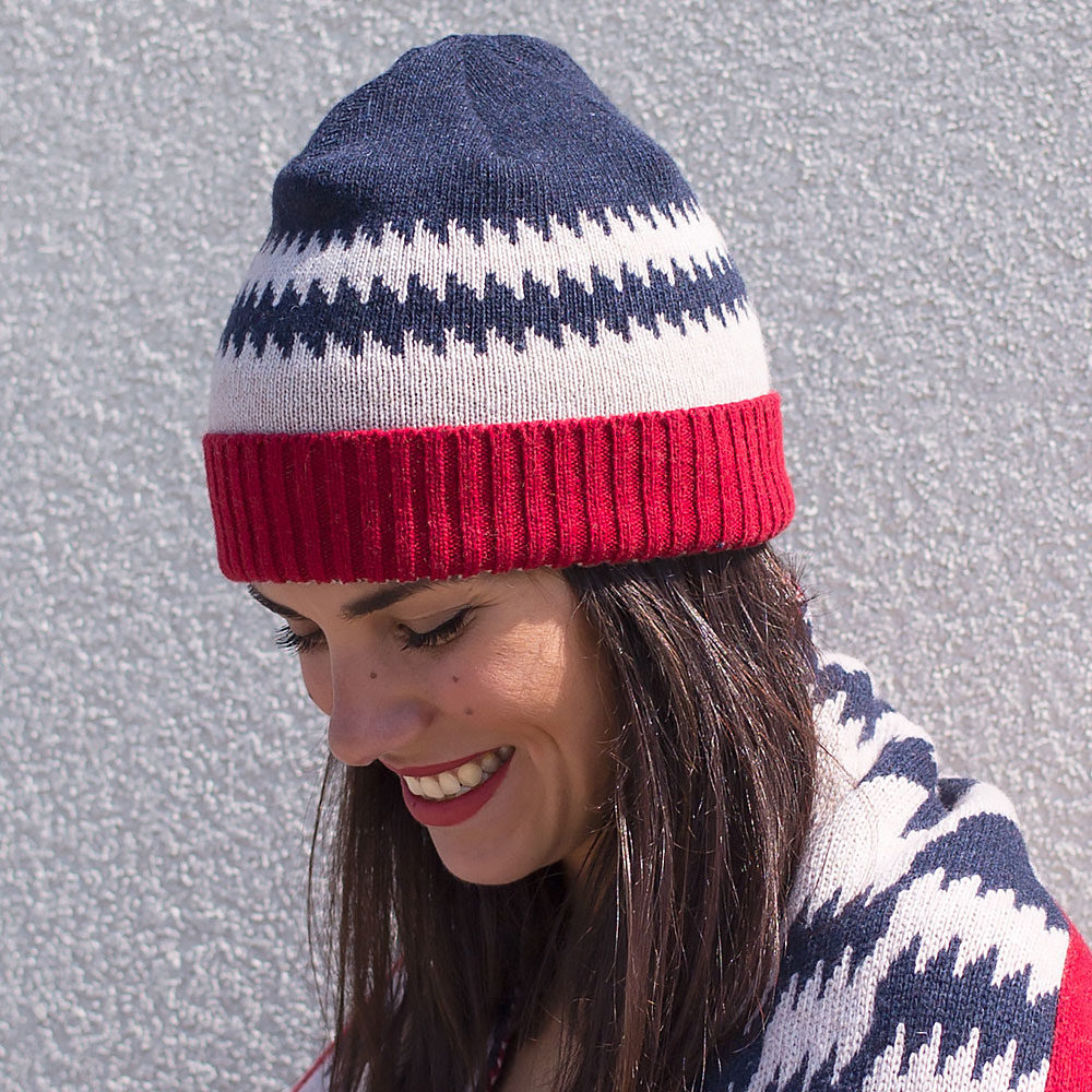 Wool hat and scarf- red