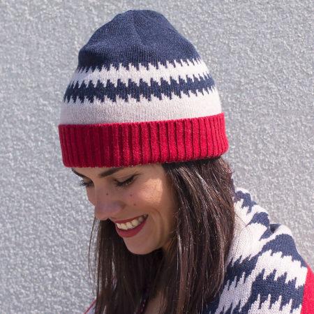 Vlněná šála a čepice s kašmírem - modrá a červená