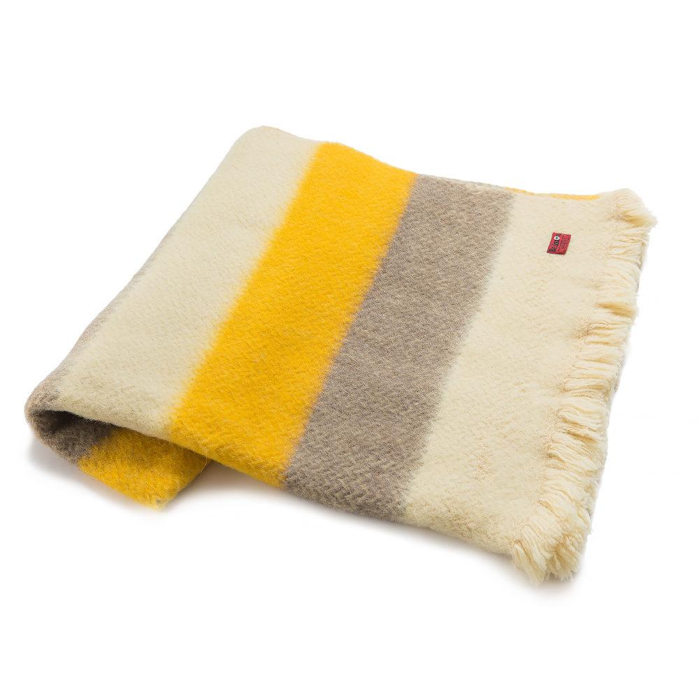 Vlněná deka Karandila XVII se žlutými a šedými pruhy