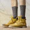 Vlněné ponožky 100% vlna, silný pružný úplet (melír)