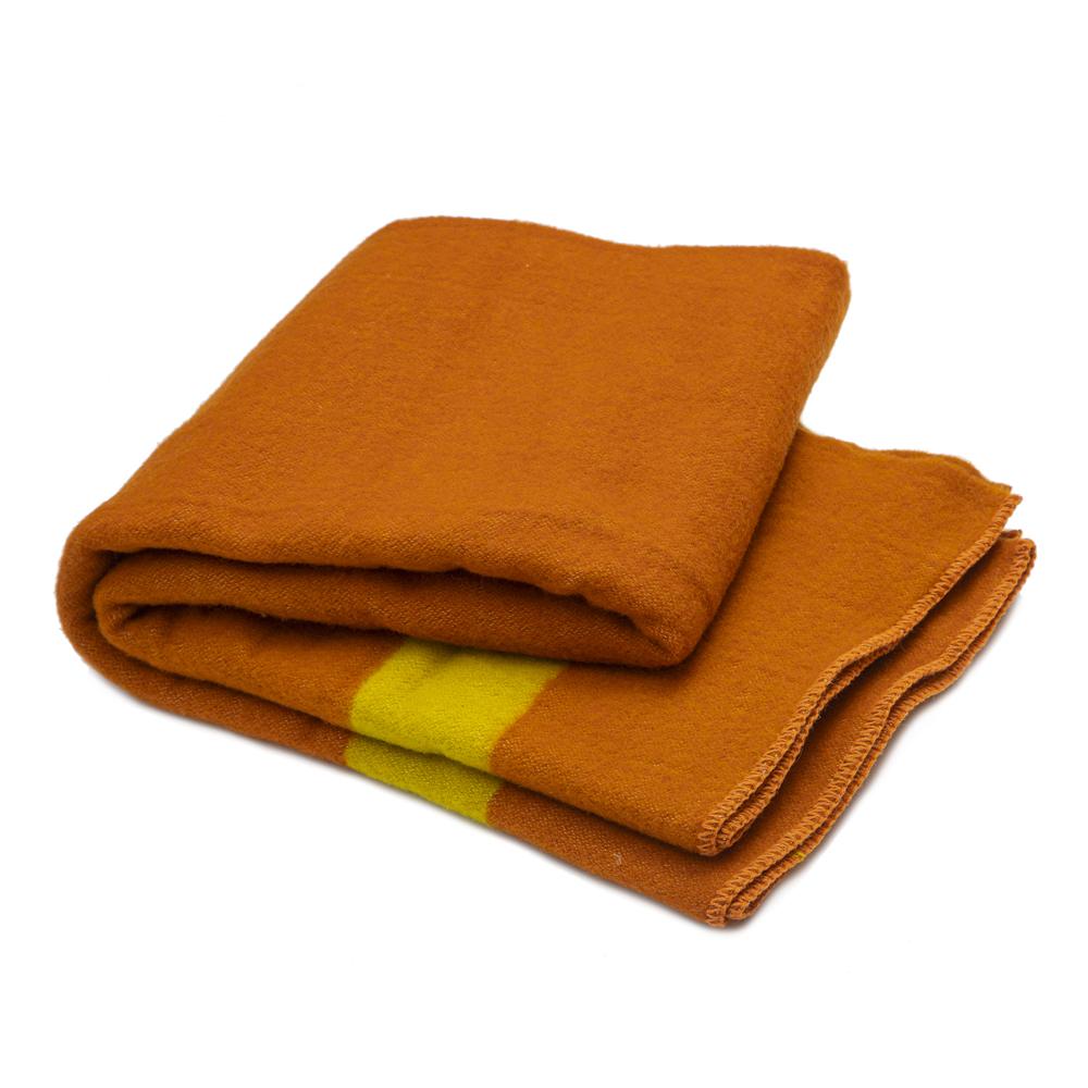 Silná vlněná deka Rainbow XXVII - oranžová s žlutým pruhem na obou koncích
