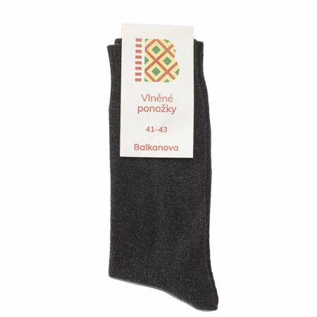 100% woolen socks, monochrome smooth knit II - black