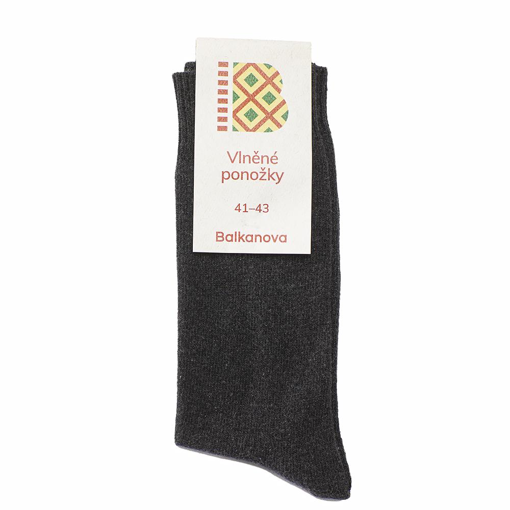 Ponožky 100% vlna, jednobarevný hladký úplet II - černé