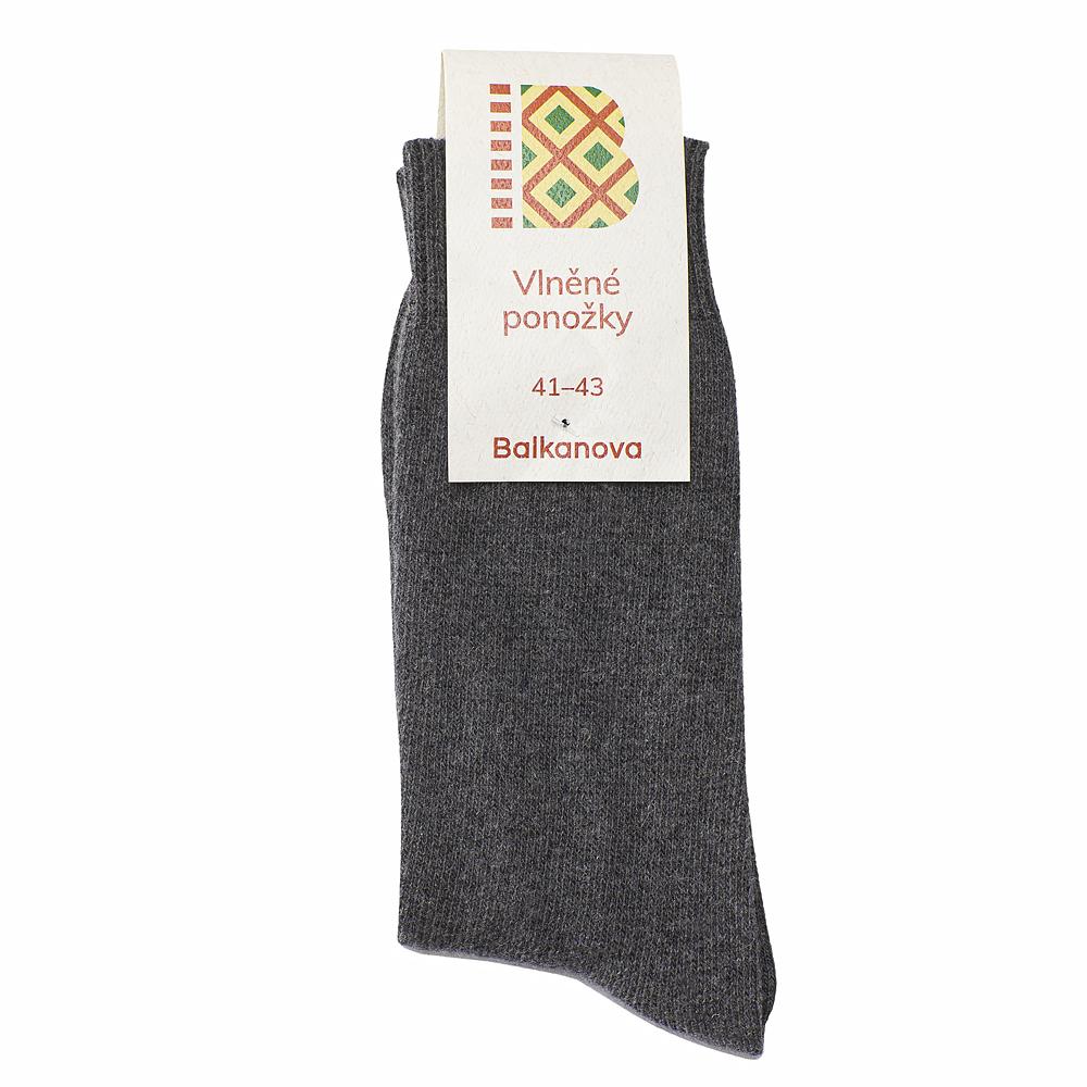 Ponožky 100% vlna, jednobarevný hladký úplet II - šedé