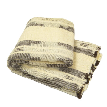 Wool Blanket Abata II – natural white and brown wool