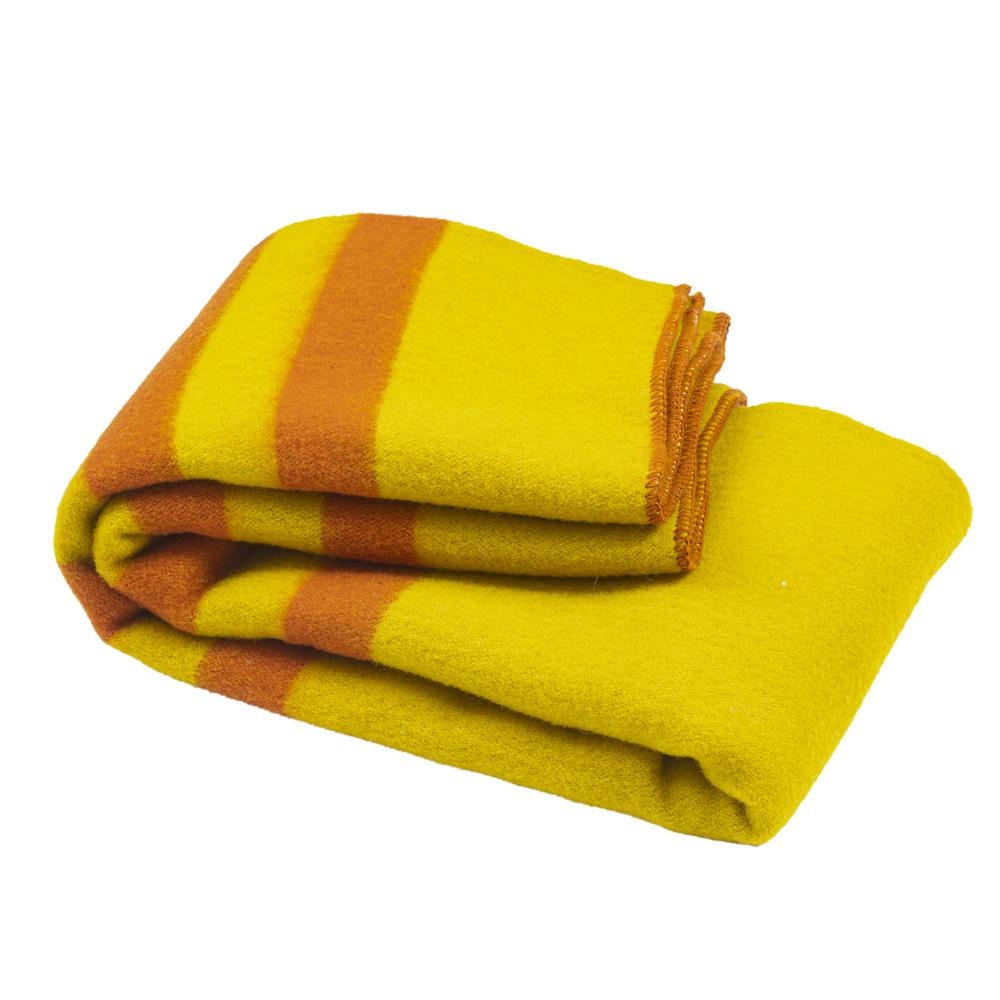 Silná vlněná deka Rainbow XXIX - žlutá s oranžovými pruhy