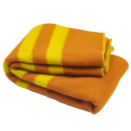 Silná vlněná deka Rainbow XXVIII - oranžová se žlutými pruhy