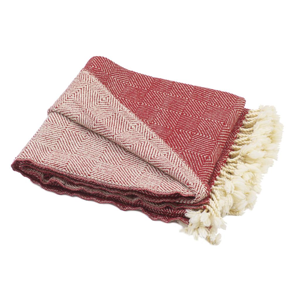Vlněná deka Kostadina merino - červená