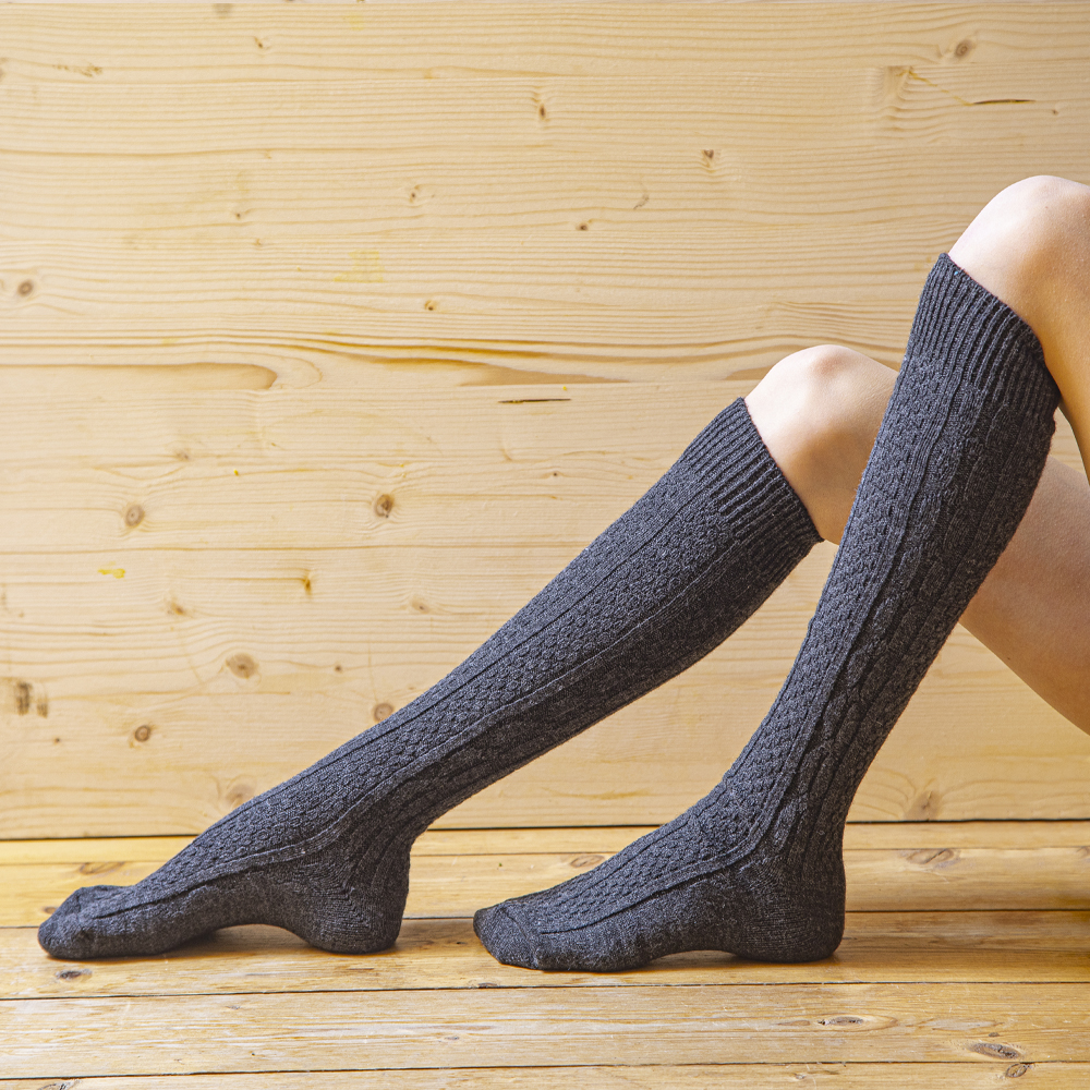Knee socks 80% wool, patterned, anthracite