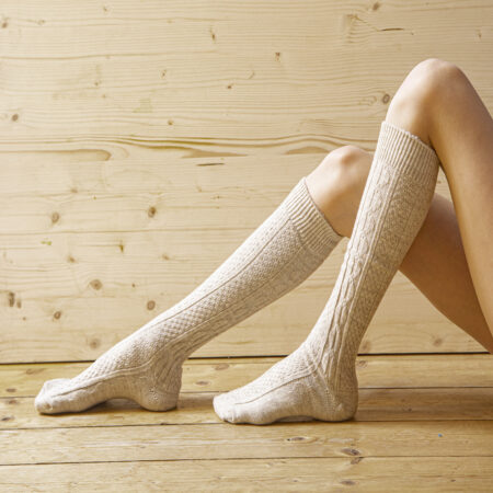 Knee socks 80% wool, patterned, beige