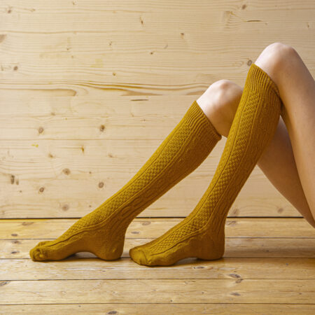 Knee socks 80% wool, patterned, yellow