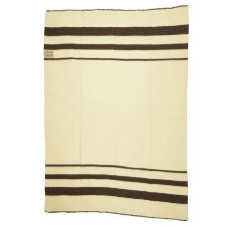 Silná vlněná deka Rainbow XXX - bílá s tenkými hnědými pruhy