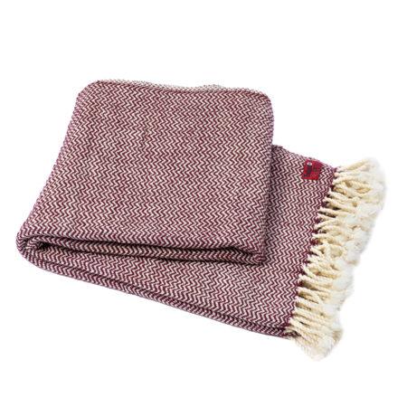 Vlněná deka Marina merino - tmavá bordó